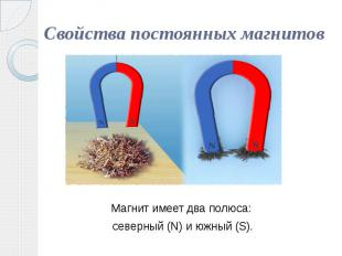 Свойства постоянных магнитов Магнит имеет два полюса: северный (N) и южный (S).