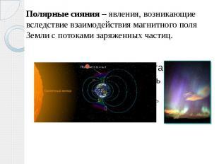Полярные сияния – явления, возникающие вследствие взаимодействия магнитного поля
