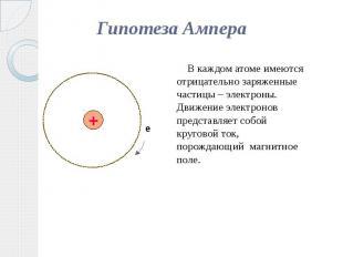 Гипотеза Ампера В каждом атоме имеются отрицательно заряженные частицы – электро