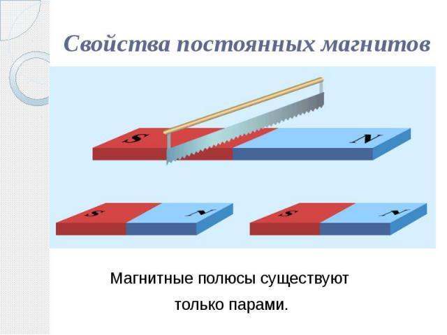 Свойства постоянных магнитов Магнитные полюсы существуют только парами.
