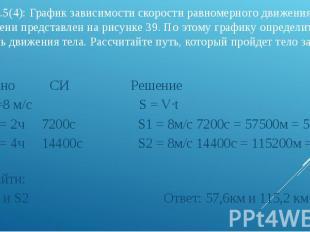 3). Упр.5(4): График зависимости скорости равномерного движения тела от времени