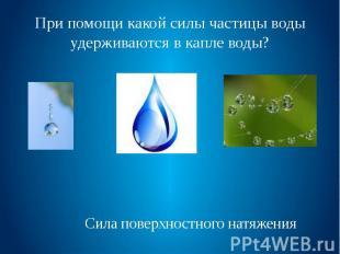 При помощи какой силы частицы воды удерживаются в капле воды?