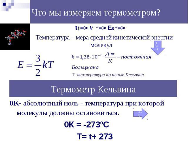 t↑=> V ↑=> Eк↑=> t↑=> V ↑=> Eк↑=> Температура – мера средней кинетической энергии молекул