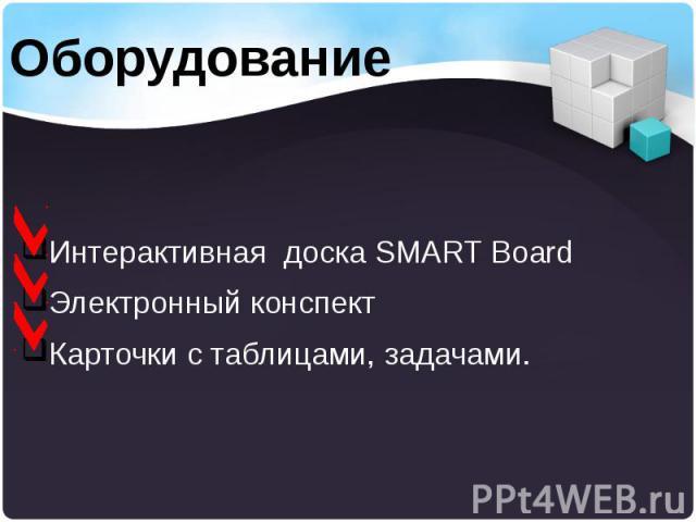 Интерактивная доска SMART Board Интерактивная доска SMART Board Электронный конспект Карточки c таблицами, задачами.