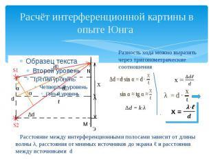 Расчёт интерференционной картины в опыте Юнга