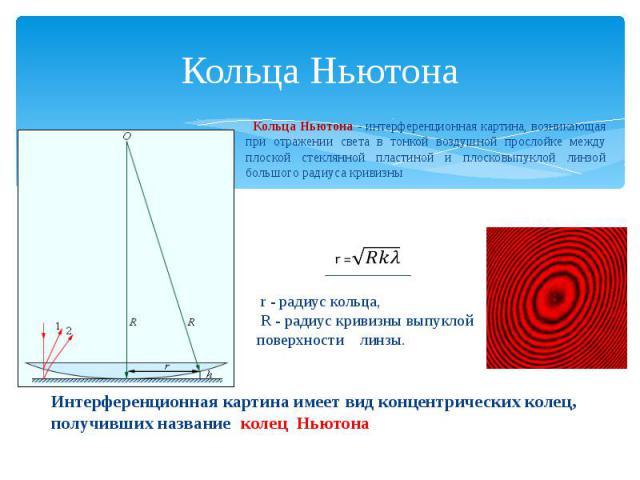 Кольца Ньютона Кольца Ньютона - интерференционная картина, возникающая при отражении света в тонкой воздушной прослойке между плоской стеклянной пластиной и плосковыпуклой линзой большого радиуса кривизны