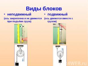 Виды блоков неподвижный (ось закреплена и не движется при подъёме груза)