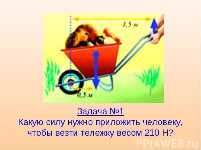Задача №1 Какую силу нужно приложить человеку, чтобы везти тележку весом 210 Н?