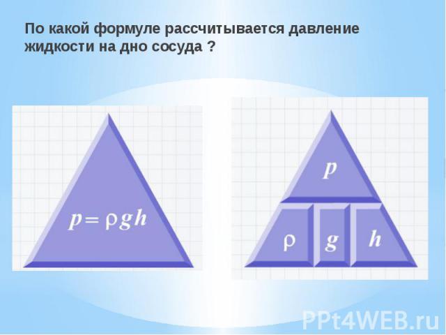 По какой формуле рассчитывается давление жидкости на дно сосуда ? По какой формуле рассчитывается давление жидкости на дно сосуда ?