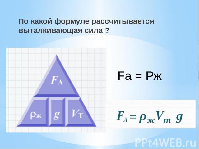 По какой формуле рассчитывается выталкивающая сила ? По какой формуле рассчитывается выталкивающая сила ?