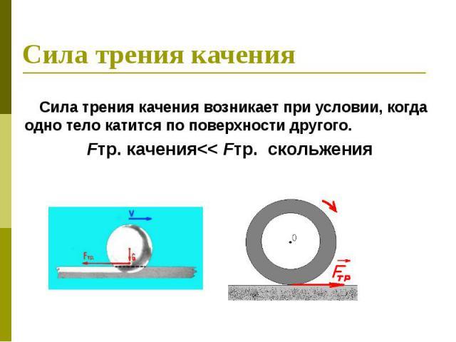 Сила трения качения Сила трения качения возникает при условии, когда одно тело катится по поверхности другого. Fтр. качения<<Fтр. скольжения