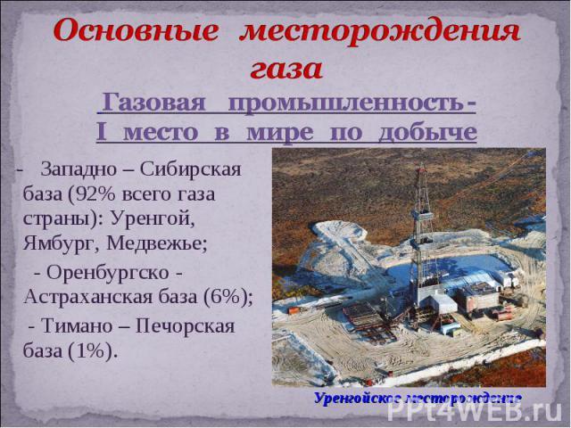 - Западно – Сибирская база (92% всего газа страны): Уренгой, Ямбург, Медвежье; - Оренбургско - Астраханская база (6%); - Тимано – Печорская база (1%).
