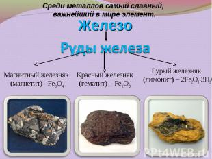 Бурый железняк (лимонит) – 2Fe2O3·3H2O Бурый железняк (лимонит) – 2Fe2O3·3H2O