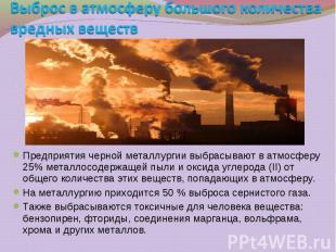 Предприятия черной металлургии выбрасывают в атмосферу 25% металлосодержащей пыл