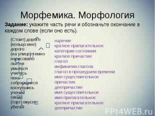 Задание: укажите часть речи и обозначьте окончание в каждом слове (если оно есть