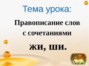 Правописание слов Правописание слов с сочетаниями жи, ши.