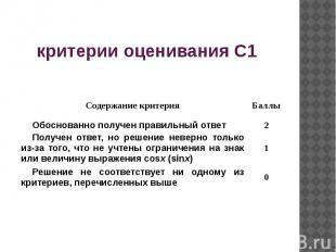 критерии оценивания C1