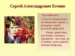 Русский поэт. Русский поэт. Стихи Есенина будто не написаны пером, а рождены сам