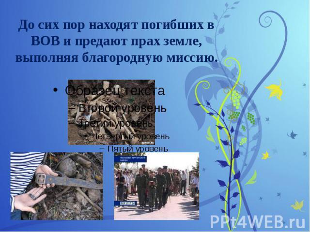 До сих пор находят погибших в ВОВ и предают прах земле, выполняя благородную миссию.
