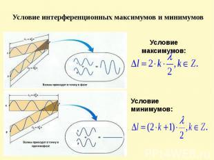 Условие интерференционных максимумов и минимумов