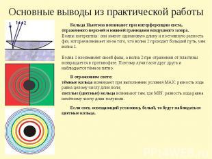 Основные выводы из практической работы Кольца Ньютона возникают при интерференци
