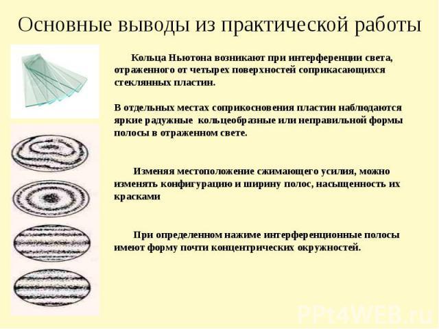 Основные выводы из практической работы Кольца Ньютона возникают при интерференции света, отраженного от четырех поверхностей соприкасающихся стеклянных пластин. В отдельных местах соприкосновения пластин наблюдаются яркие радужные кольцеобразные или…