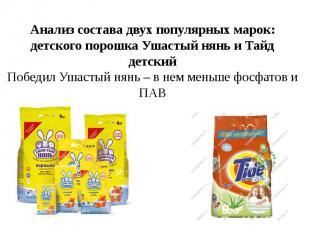Анализ состава двух популярных марок: детского порошка Ушастый нянь и Тайд детск