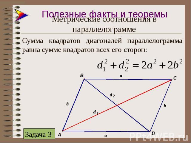 Сумма квадратов диагоналей параллелограмма равна сумме квадратов всех его сторон: