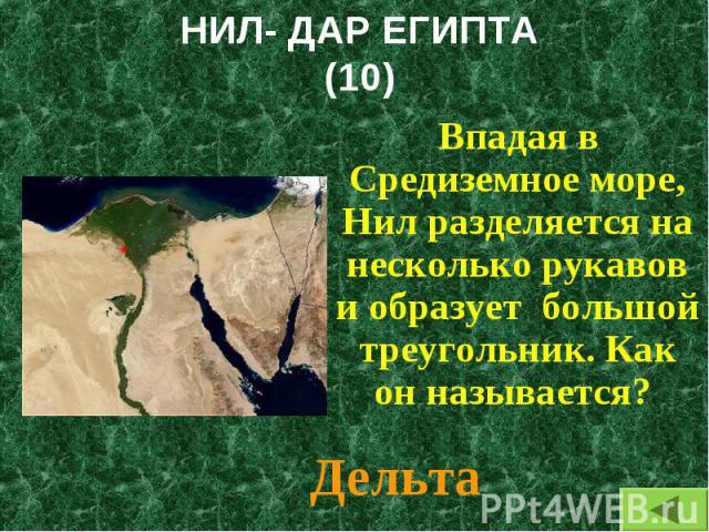 Впадая в Средиземное море, Нил разделяется на несколько рукавов и образует большой треугольник. Как он называется? Впадая в Средиземное море, Нил разделяется на несколько рукавов и образует большой треугольник. Как он называется?