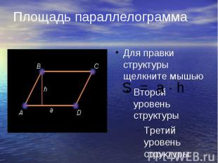 Площадь параллелограмма S = a · h
