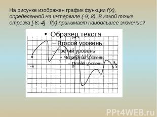 На рисунке изображен график функции f(x), определенной на интервале (-9; 8). В к