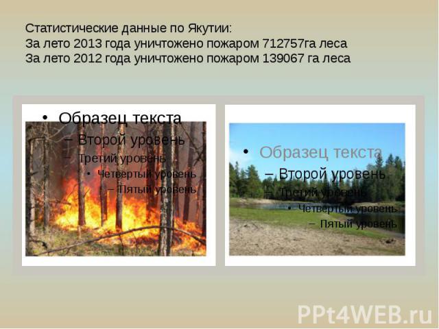 Статистические данные по Якутии: За лето 2013 года уничтожено пожаром 712757га леса За лето 2012 года уничтожено пожаром 139067 га леса