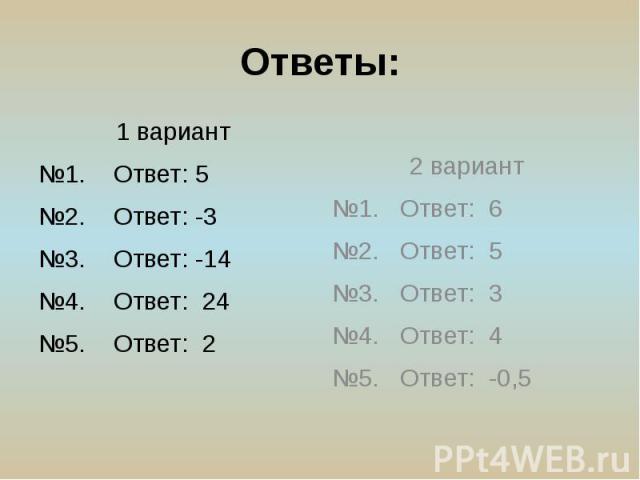 Ответы: 1 вариант №1. Ответ: 5 №2. Ответ: -3 №3. Ответ: -14 №4. Ответ: 24 №5. Ответ: 2