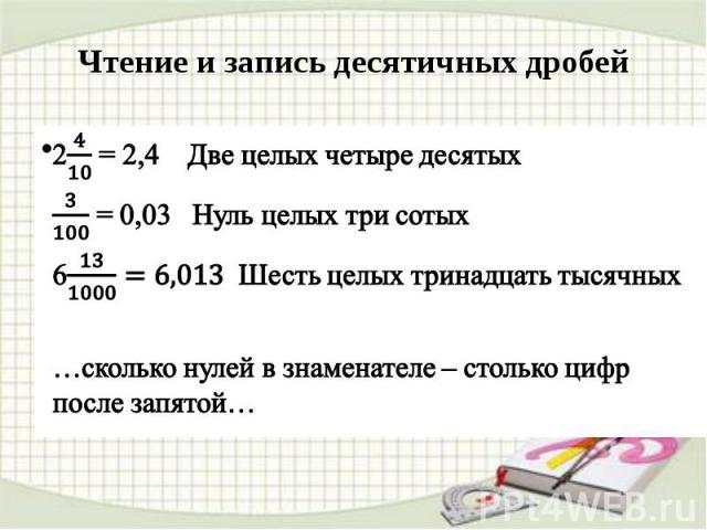 Чтение и запись десятичных дробей 2 = 2,4 Две целых четыре десятых = 0,03 Нуль целых три сотых 6 Шесть целых тринадцать тысячных …сколько нулей в знаменателе – столько цифр после запятой…