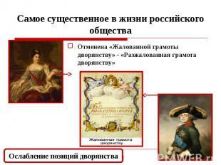 Самое существенное в жизни российского общества Отменена «Жалованной грамоты дво
