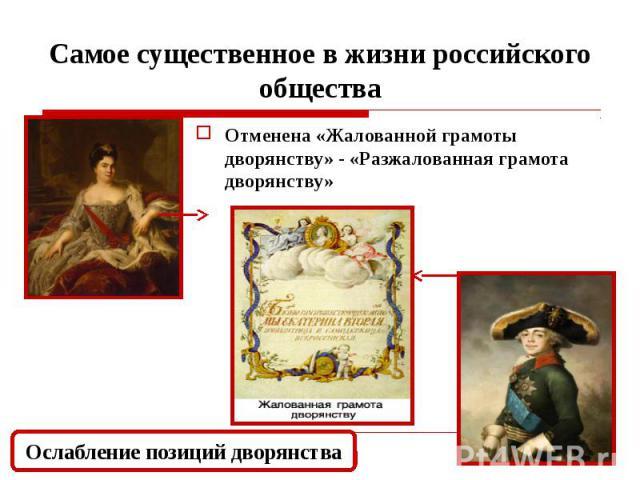 Самое существенное в жизни российского общества Отменена «Жалованной грамоты дворянству» - «Разжалованная грамота дворянству»