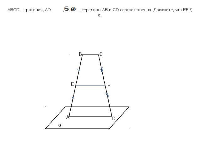 ABCD – трапеция, AD , E и F – середины AB и CD соответственно. Докажите, что EF ǁ α.