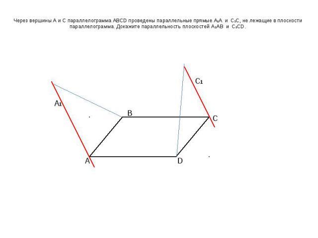 Через вершины А и С параллелограмма ABCD проведены параллельные прямые А1А и С1С, не лежащие в плоскости параллелограмма. Докажите параллельность плоскостей А1АВ и С1СD.
