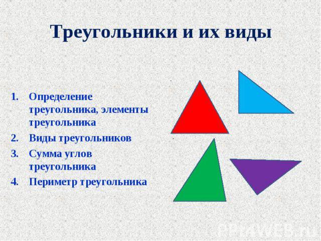 Определение треугольника, элементы треугольника Определение треугольника, элементы треугольника Виды треугольников Сумма углов треугольника Периметр треугольника