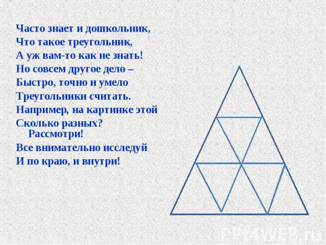 Часто знает и дошкольник, Часто знает и дошкольник, Что такое треугольник, А уж вам-то как не знать! Но совсем другое дело – Быстро, точно и умело Треугольники считать. Например, на картинке этой Сколько разных? Рассмотри! Все внимательно исследуй И…