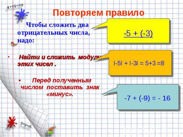 Чтобы сложить два отрицательных числа, надо: Чтобы сложить два отрицательных числа, надо: Найти и сложить модули этих чисел . Перед полученным числом поставить знак «минус».