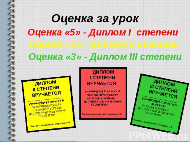 Оценка за урок Оценка «5» - Диплом I степени Оценка «4» - Диплом II степени Оценка «3» - Диплом III степени