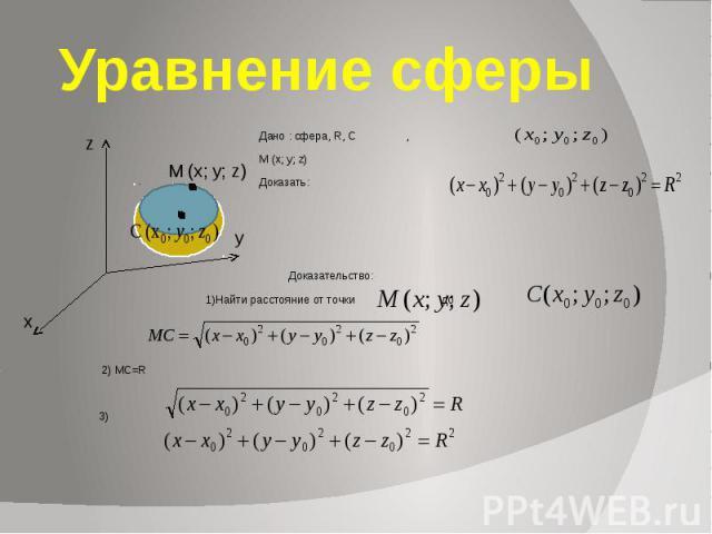 Уравнение сферы Дано : сфера, R, С , М (x; y; z) Доказать: Доказательство: 1)Найти расстояние от точки до 2) MC=R 3)