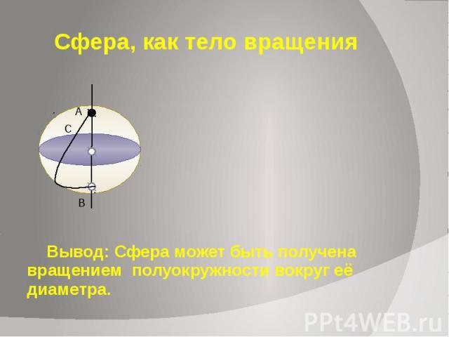 Сфера, как тело вращения Вывод: Сфера может быть получена вращением полуокружности вокруг её диаметра.