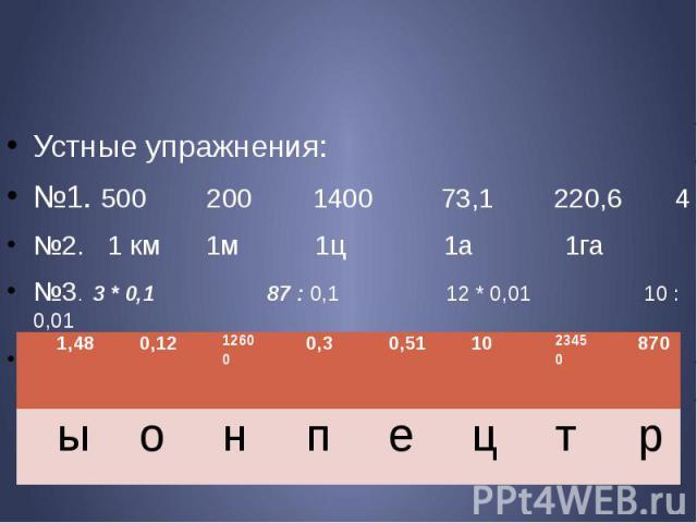 Устные упражнения: №1. 500 200 1400 73,1 220,6 4 №2. 1 км 1м 1ц 1а 1га №3. 3 * 0,1 87 : 0,1 12 * 0,01 10 : 0,01 51 * 0,01 1,26 : 0,0001 2, 345 : 0,0001 14.8 * 0,1
