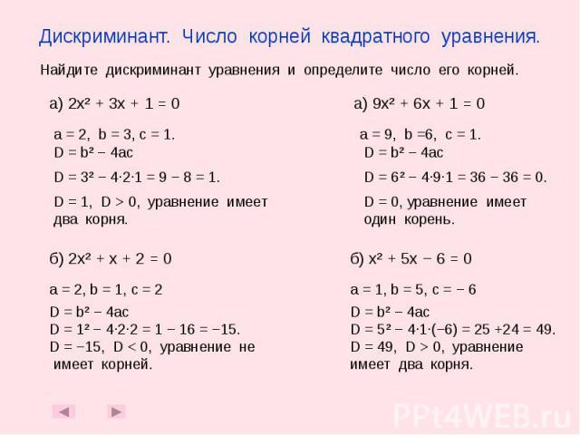 Дискриминант. Число корней квадратного уравнения.