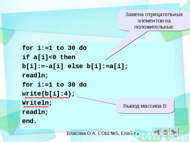 for i:=1 to 30 do if a[i]<0 then b[i]:=-a[i] else b[i]:=a[i]; readln; for i:=1 to 30 do write(b[i]:4); Writeln; readln; end.