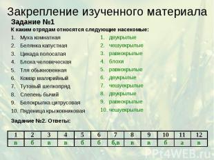 Закрепление изученного материала Задание №1 К каким отрядам относятся следующие