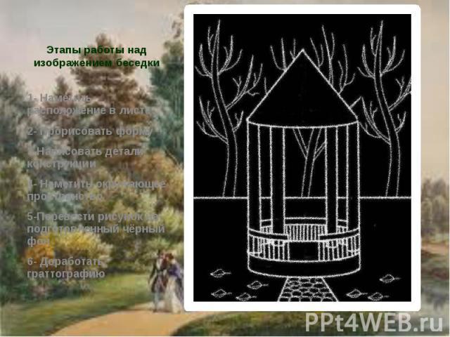 Этапы работы над изображением беседки 1- Наметить расположение в листе 2- Прорисовать форму 3-Нарисовать детали конструкции 4- Наметить окружающее пространство 5-Перевести рисунок на подготовленный чёрный фон 6- Доработать граттографию