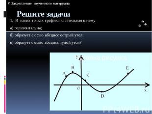 Решите задачи 1. В каких точках графика касательная к нему а) горизонтальна; б)